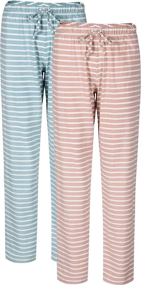 Genuwin Pantalones Lagros de Pijama para Mujer - Pantalón Básico de Algodón con Bolsillos Laterales y Cordón - Pijama Mujer Suave a Rayas o Lunares - Pack de 2 (XL, Rayas, Rosa +