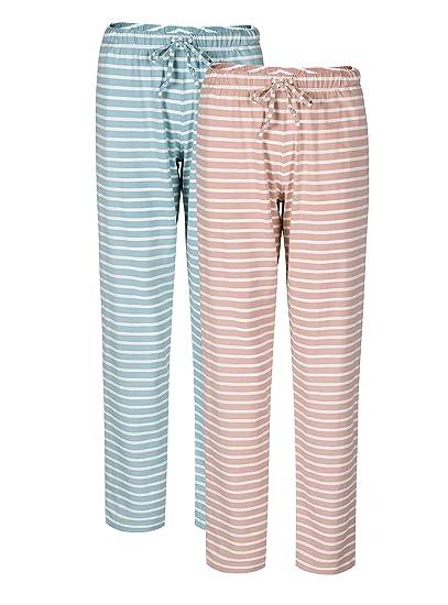 9767b7b3f6 Genuwin Damen Lange Schlafanzughose Basic Jersey Hose weiche Pyjama Hosen  aus Baumwolle mit Seitentaschen und Tunnelzug