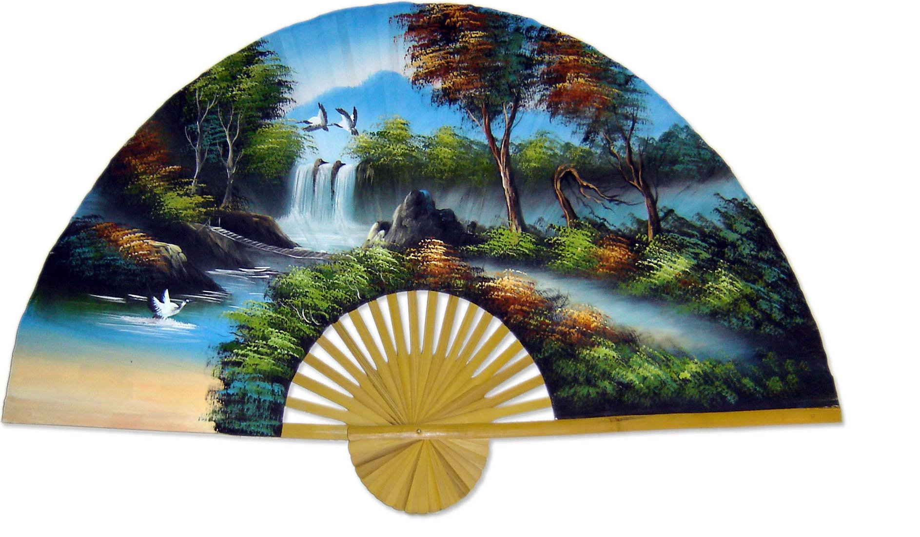 Large 60'' Folding Wall Fan -- Japanese Autumn -- Original Hand-painted by Oriental-Decor