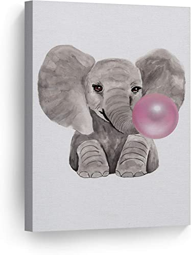 Smile Art Design Cute Baby Elephant Animal Bubble Gum Art Pink Canvas Print Watercolor Painting Wall Art Home Decoration Pop Art Kids Room Decor Nursery Ready to Hang Made