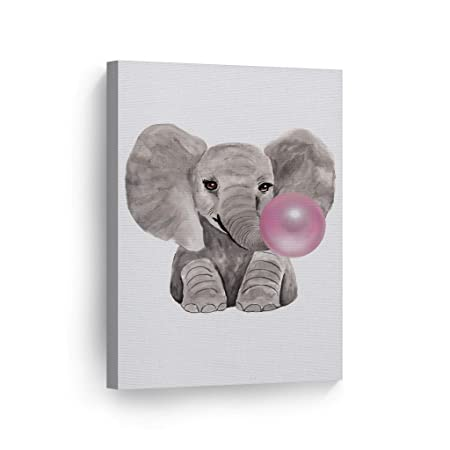 Cute Baby Elephant Animal Bubble Gum Art Pink Canvas Print Watercolor Painting Wall Art Home Decoration Pop Art Kids Room Decor Nursery Ready to Hang- 100 Handmade in The USA – 17×11