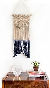 Macrame Wall Hanging Blue Woven Large Tapestry - Handmade Bohemian Home Decor - Boho Chic Apartment Studio or Dorm Decorative Interior Wall Art - Office Living Room Bedroom Nursery Craft Decorations