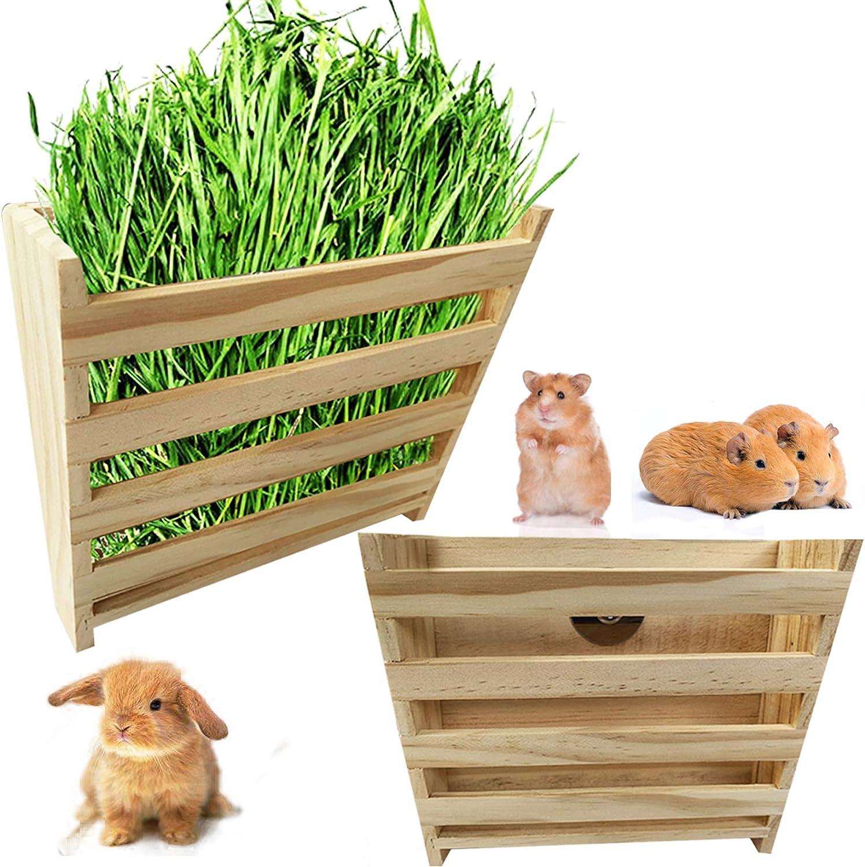 Hamiledyi Guinea Pig Hay Feeder, Bunny Food Wooden Manger Rack Grass Holder for Chinchilla Hamster
