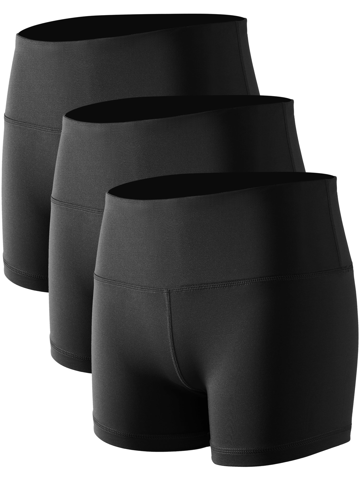 Cadmus Women's Stretch Fitness Running Shorts with Pocket,3 Pack,05,Black,Small by Cadmus