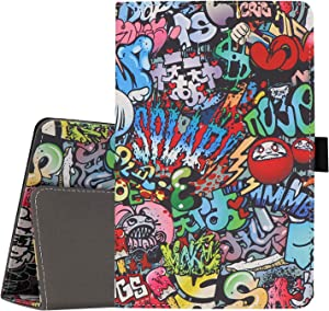 Ratesell Lenovo Tab E8 TB-8304F Case, Multi-Angle Stand Slim-Book PU Leather Case Cover with Stylus Slot Holder for The Lenovo Tab E8 8 Inch TB-8304F Graffiti