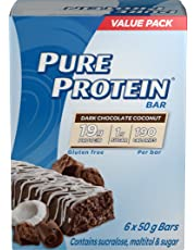 Pure Protein Bars, Gluten Free, Snack Bars, Dark Chocolate Coconut, 50 gram, 6 Count