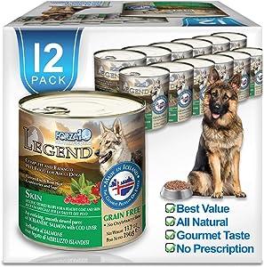 Forza10 Legend Skin Wet Dog Food, Omega 3 Canned Dog Food Grain Free Sensitive Skin Health, Dry Skin Fur Loss, 13.7 oz, Salmon, Adult Dogs, 12 Case