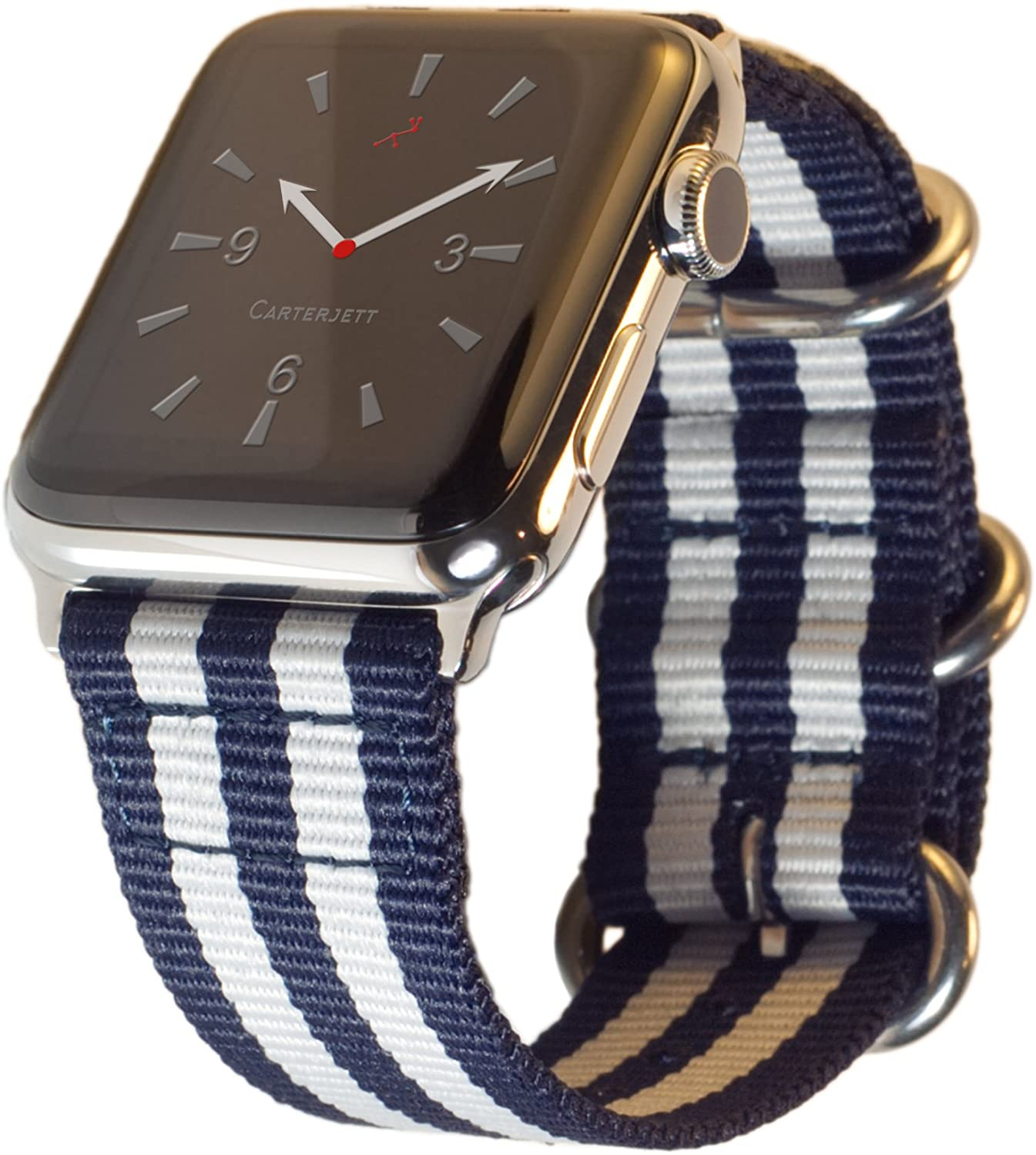 Carterjett Compatible with Apple Watch Band 42mm 44mm Women Men Replacement iWatch Bands Nylon Canvas Strap Steel Hardware Edition Sport for Series 5 4 3 2 1 (42 44 S/M/L Blue/White)