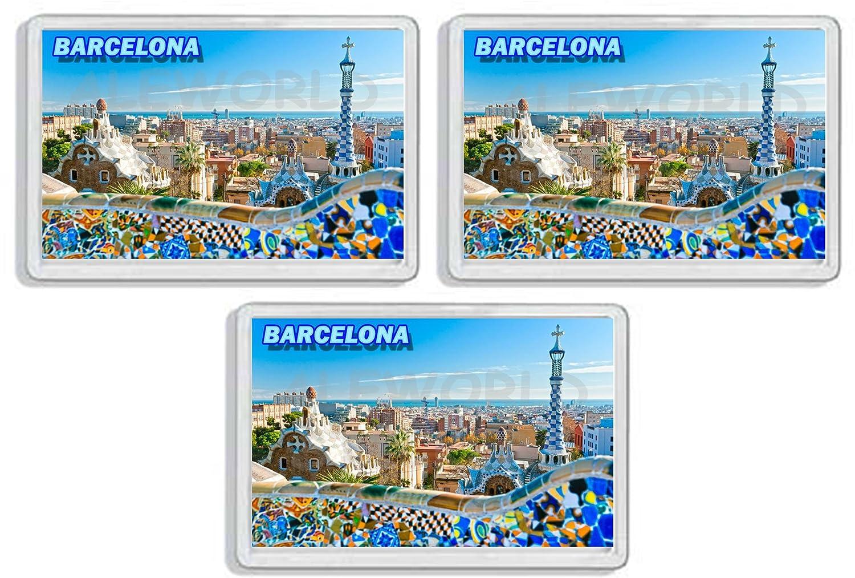 7,8/_x/_5,2/_cm AWS Set di 3 Magneti in pvc rigido Barcellona Barcelona Spagna SPAIN souvenir calamita fridge MAGNET magnete da frigo in plastica dura con immagine fotografica citt/à ricordo vacanza