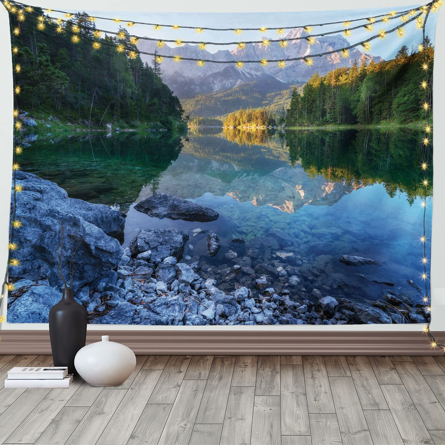 Ambesonne Landscape Tapestry, Sundown on Mountain Lake Eibsee Located in The Bavaria Germany, Wide Wall Hanging for Bedroom Living Room Dorm, 80