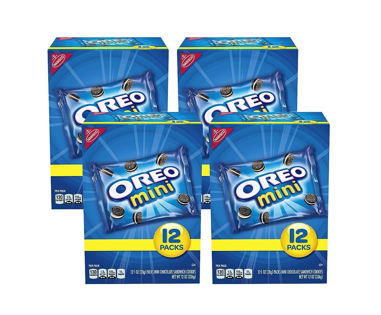 OREO Mini Chocolate Sandwich Cookies, 48 - 1 oz Snack Packs (4 Boxes)