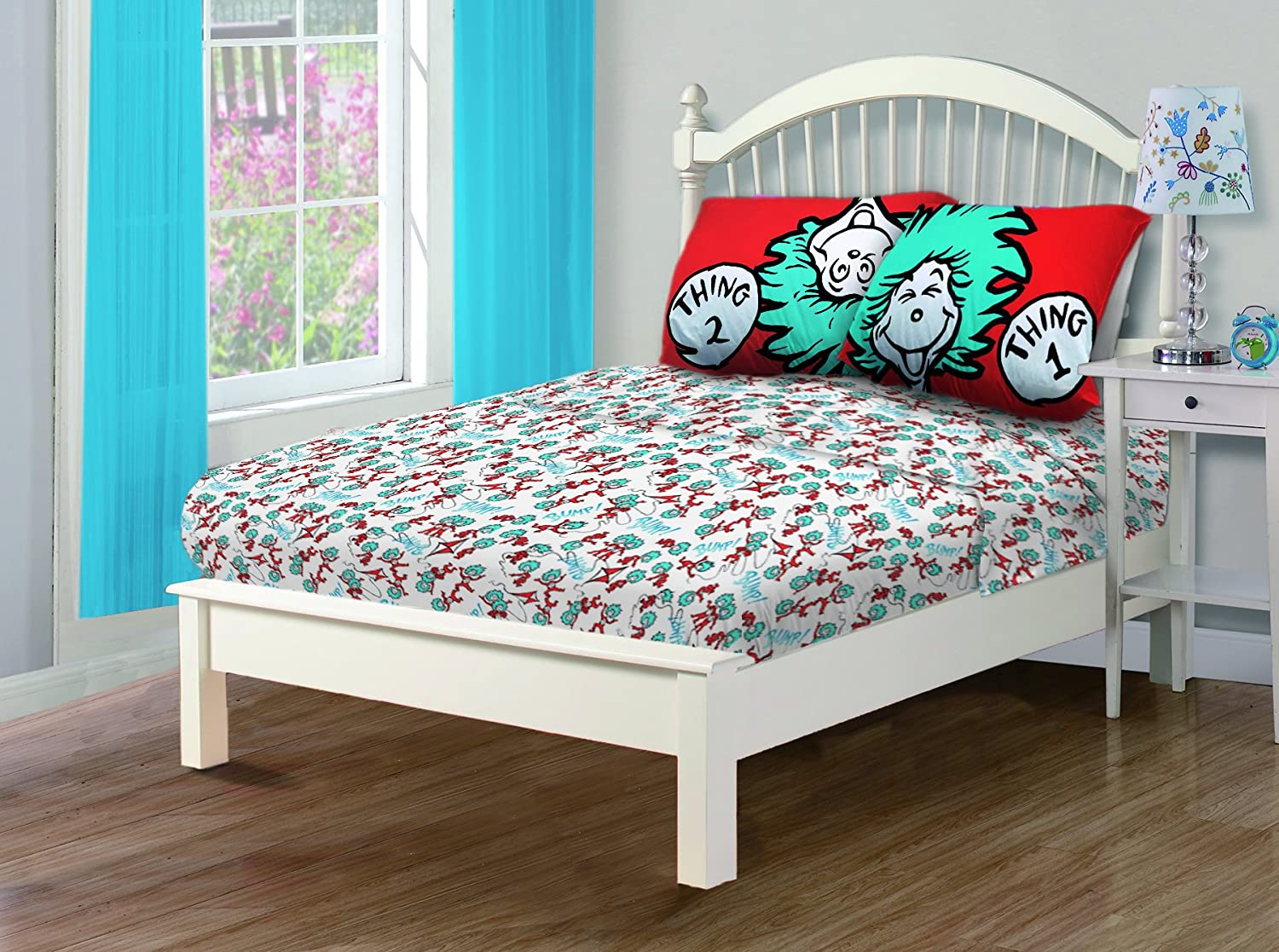 Amazon com  Dr  Seuss Cat in the Hat  Covers Twin Sheet Set Including  1  Flat Sheet  1 Fitted Sheet and 1 Pillow Case  Home   Kitchen. Amazon com  Dr  Seuss Cat in the Hat  Covers Twin Sheet Set