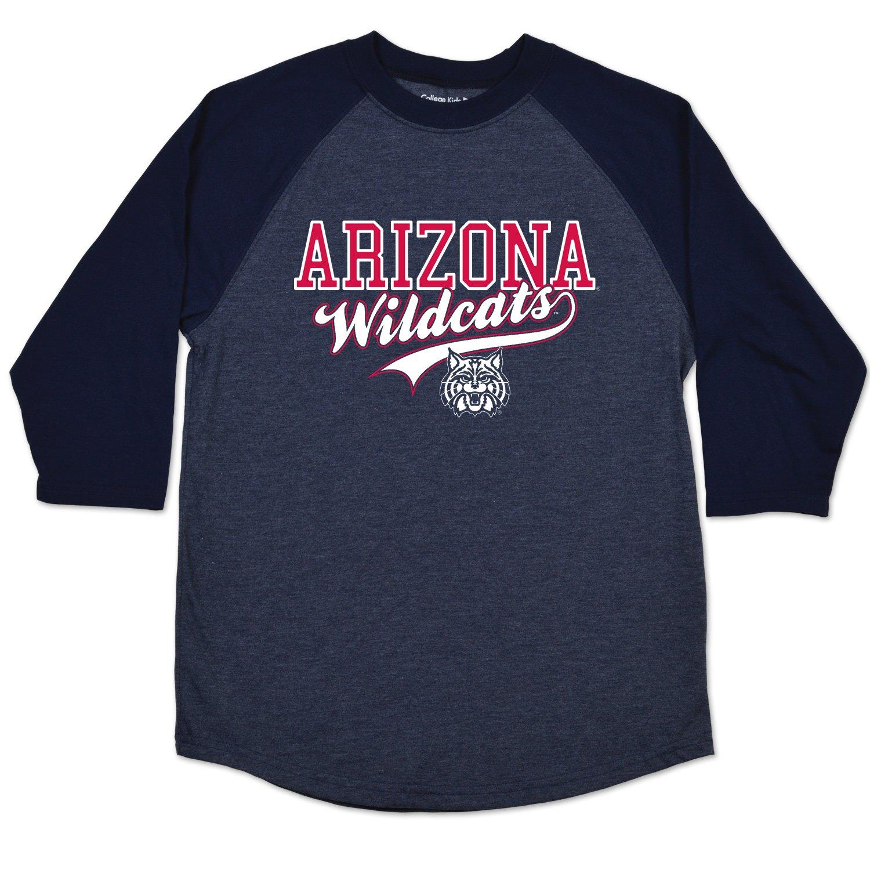 10-12 Navy Size //Medium College Kids NCAA Arizona Wildcats Youth Home Run Raglan Tee
