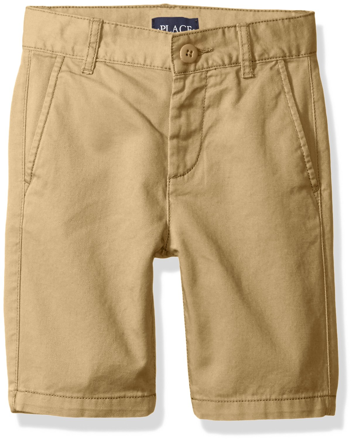 The Children's Place Big Boys' Uniform Chino Shorts, Flax, 16
