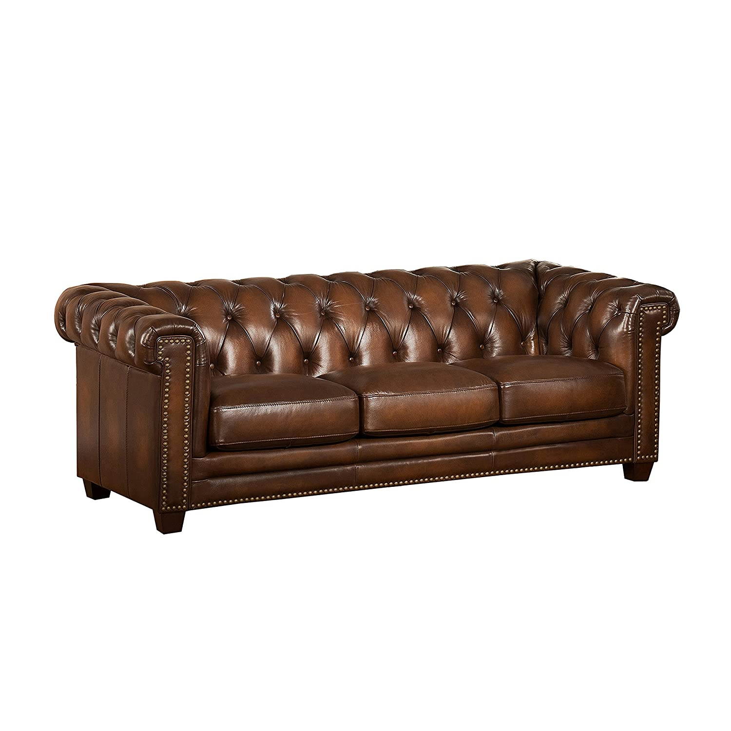 Amax Leather Stanley Park II 100% Leather Sofa Brown Amazon