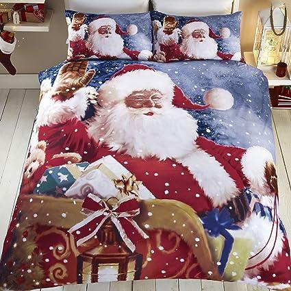 Copripiumino Natalizio Singolo.Tony S Textiles Set Copripiumino Babbo Natale Con Slitta