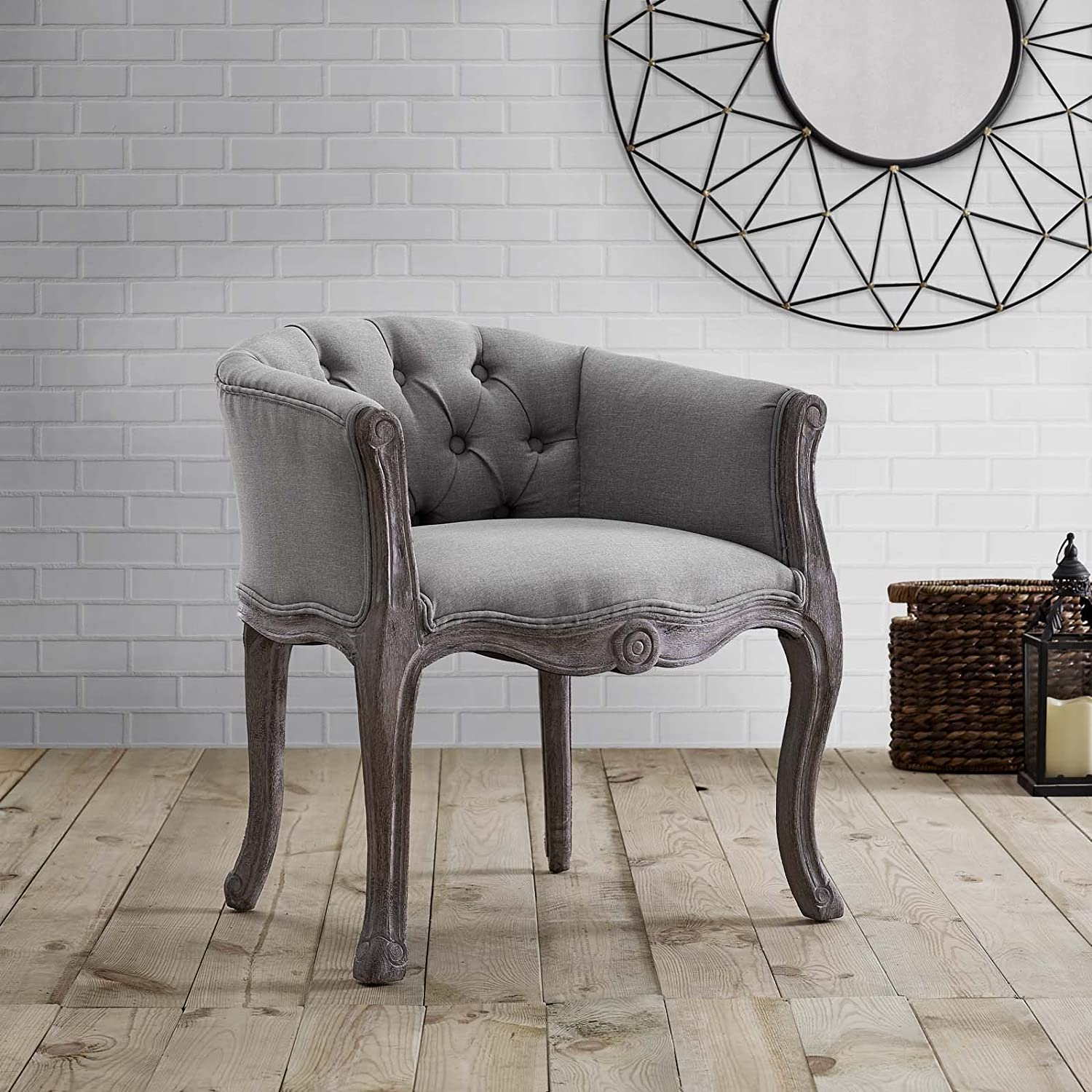 Modway Crown French Vintage Barrel Back Tufted Upholstered Fabric Kitchen and Dining Room Arm Chair in Light Gray – Fully Assembled