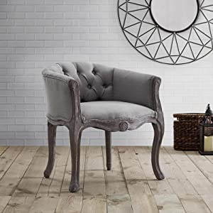 Modway Crown French Vintage Barrel Back Tufted Upholstered Fabric Kitchen and Dining Room Arm Chair in Light Gray - Fully Assembled