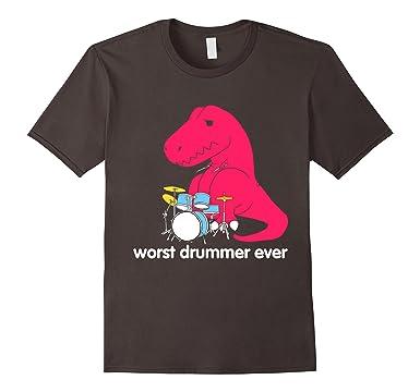 amazon com t rex worst drummer ever funny t rex t shirt clothing