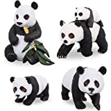 "TOYMANY 4PCS Solid Panda Figurines Toy Set, 2-4"" Realistic Plastic Safari Animals Figures Family Set with Bamboo & Baby…"