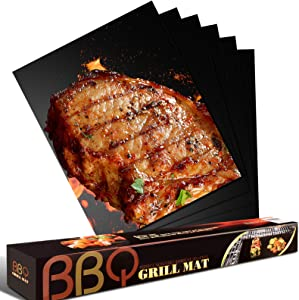 Freshmage Grill Mat - Set of 6 Oven Liners for Bottom of Electric Oven, Heavy Duty Non-Stick, Safe Reusable and Easy to Clean BBQ Grill Mats Works on Grill Stove and Oven - 15.75 x 13 Inches, Black