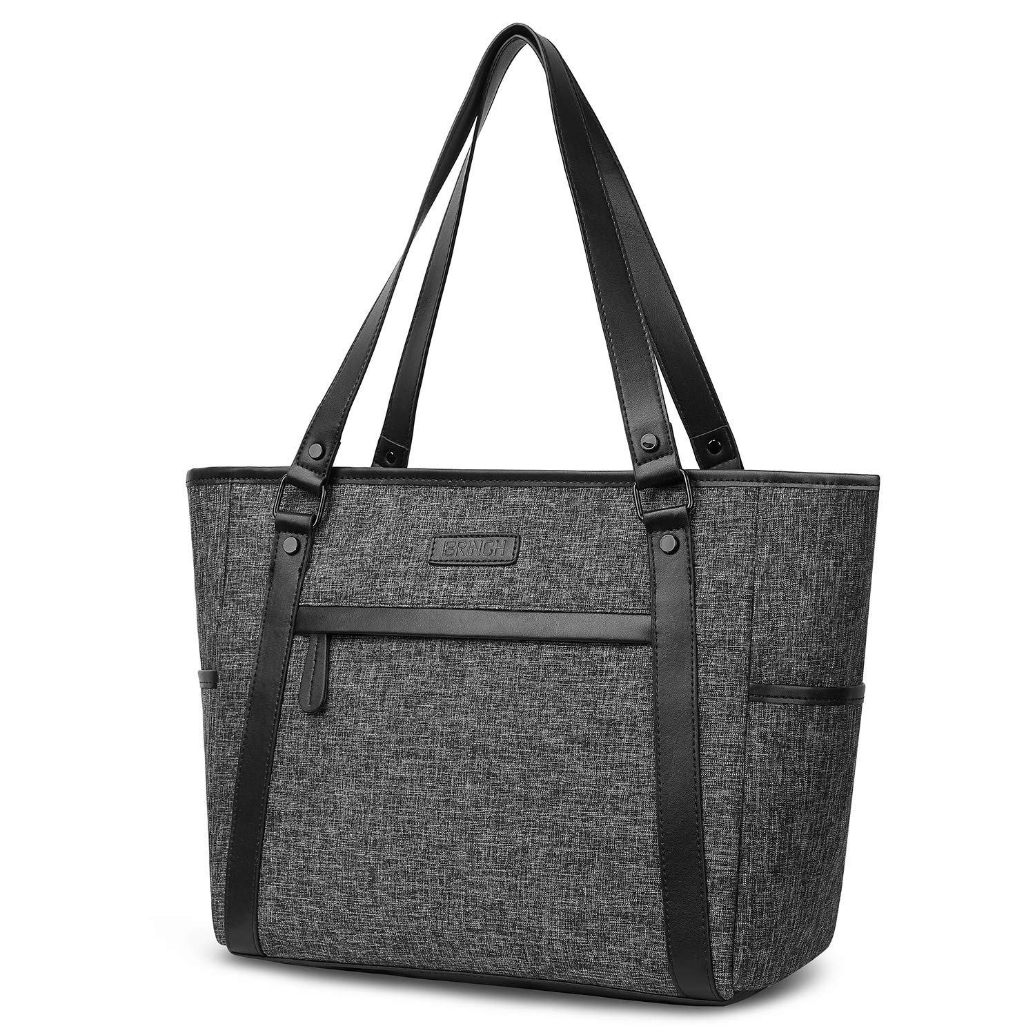 15.6 Inch Laptop Tote Bag Lightweight Stylish Satchel for Women Durable Nylon Travel Bag Casual Shopping Handbag Large Capacity Business Briefcase Multi-function Zipper Shoulder Bag,Gray Suppets