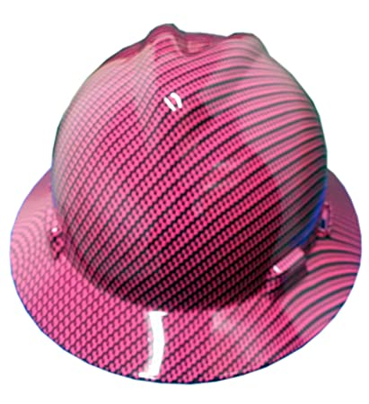 Izzo Graphics Pink Carbon Fiber MSA Full Brim Hard Hat