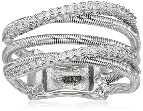 14k Gold Shared-Prong Curved-Row Diamond and Wire Fashion Ring (1/3cttw, I-J Color, SI2-I1 Clarity), Size 7