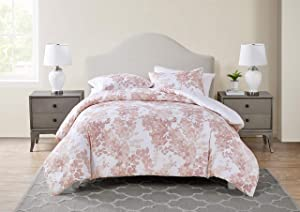 Tahari Home | Sofia Bedding Collection | Luxury Ultra Soft Comforter, All Season Premium 3 Piece Set, Modern Delicate Floral Print, Designed for Home Hotel Décor, Full/Queen, Rose