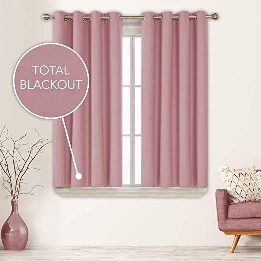 Amazon Com Deconovo Total Blackout Curtains Pink Curtains For Girls Bedroom Solid Composited Thermal Insulated Curtain Sun Blocking Drapes 52x63 Inch Pink 2 Panels Furniture Decor
