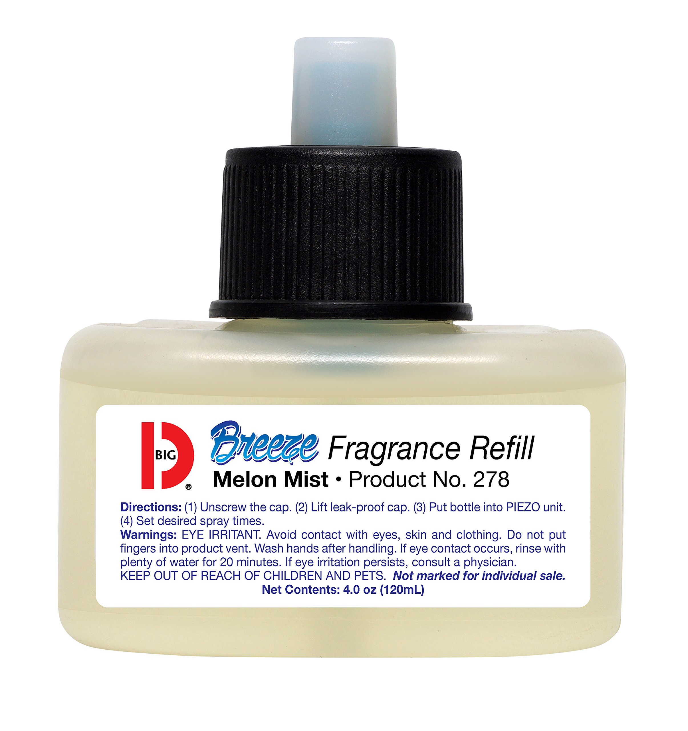Big D Fragrance Refill for Breeze Dispenser, Melon Mist Fragrance Automatic Air Freshener with Piezo Technology - Ideal for restrooms, offices, schools, restaurants, hotels, stores
