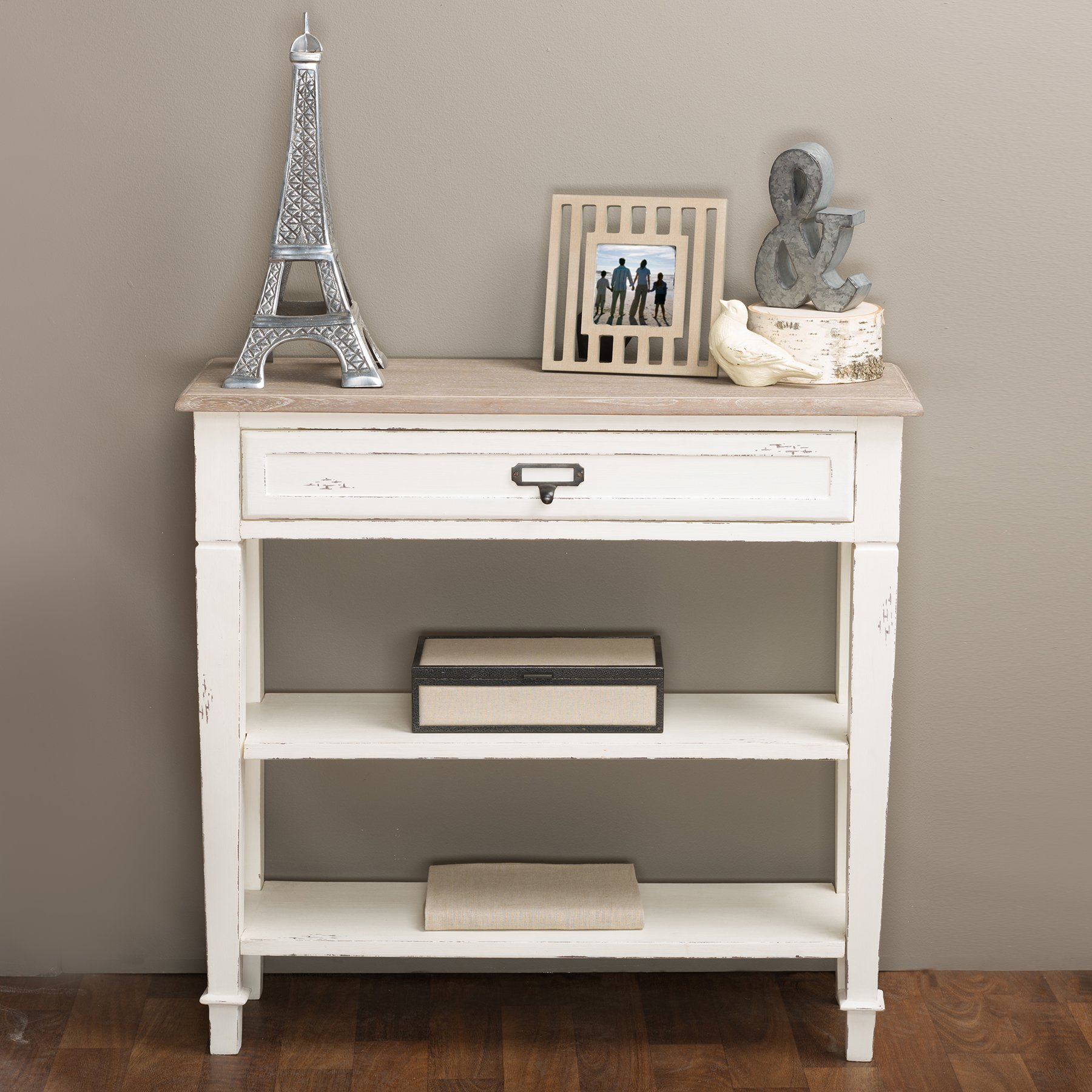 Baxton Studio Dauphine Traditional French 1-Drawer Accent Console Table, White by Baxton Studio