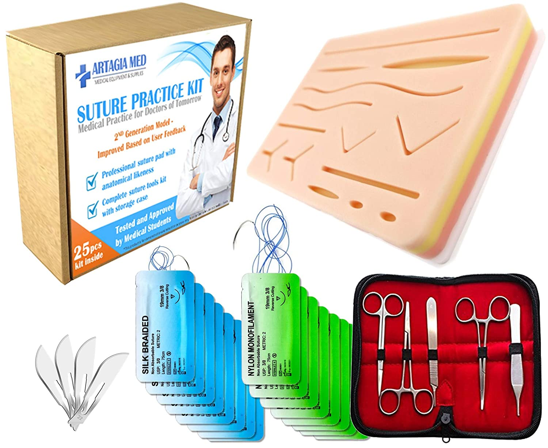 Kit de Sutura Práctica de Alta Calidad Para Formación Médica con Almohadilla de Sutura Grande de Silicona con Heridas y Kit de Instrumentos de Sutura (19 ...