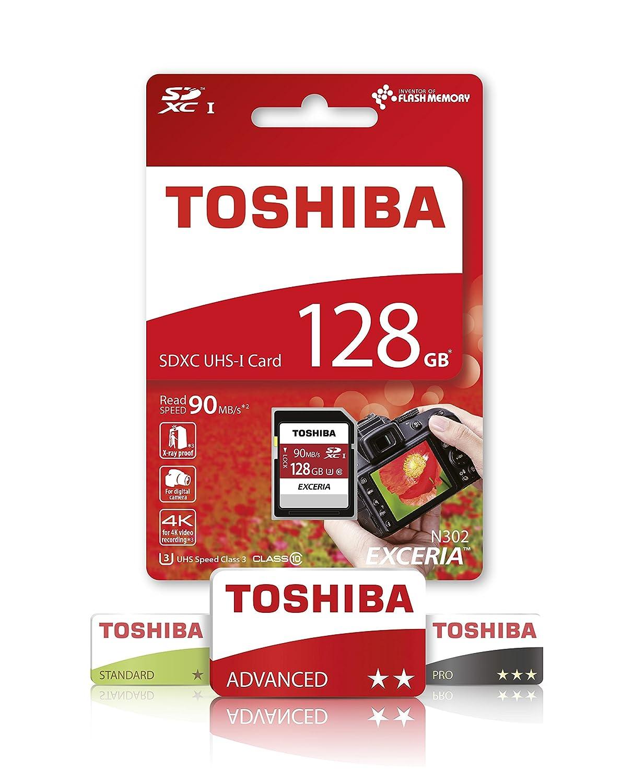 Toshiba EXCERIA N302 N302 SDXC 128GB 128GB SDXC UHS-I Clase 10 Memoria Flash 128 GB, SDXC, Clase 10, 90 MB//s, UHS-I, 24 mm Tarjeta de Memoria