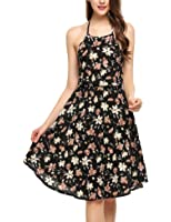 Zeagoo Women Summer Halter Neck Backless Chiffon Floral Print Casual Beach Dress