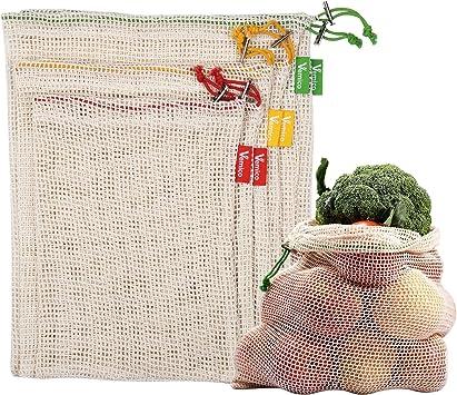 Vemico Bolsas de Vegetales Reutilizables Algodón Fruta Transpirable Bolsa Malla Cordón en Conjunto 6 Beige (2XL, 2xM, 2XS),Bolsa Plástica Rechazada: Amazon.es: Juguetes y juegos