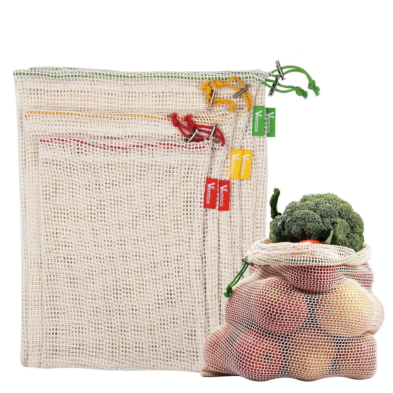 Vemico Bolsas de Vegetales Reutilizables Algodón Fruta Transpirable Bolsa Malla Cordón en Conjunto 6 Beige (2XL, 2xM, 2XS),Bolsa Plástica Rechazada
