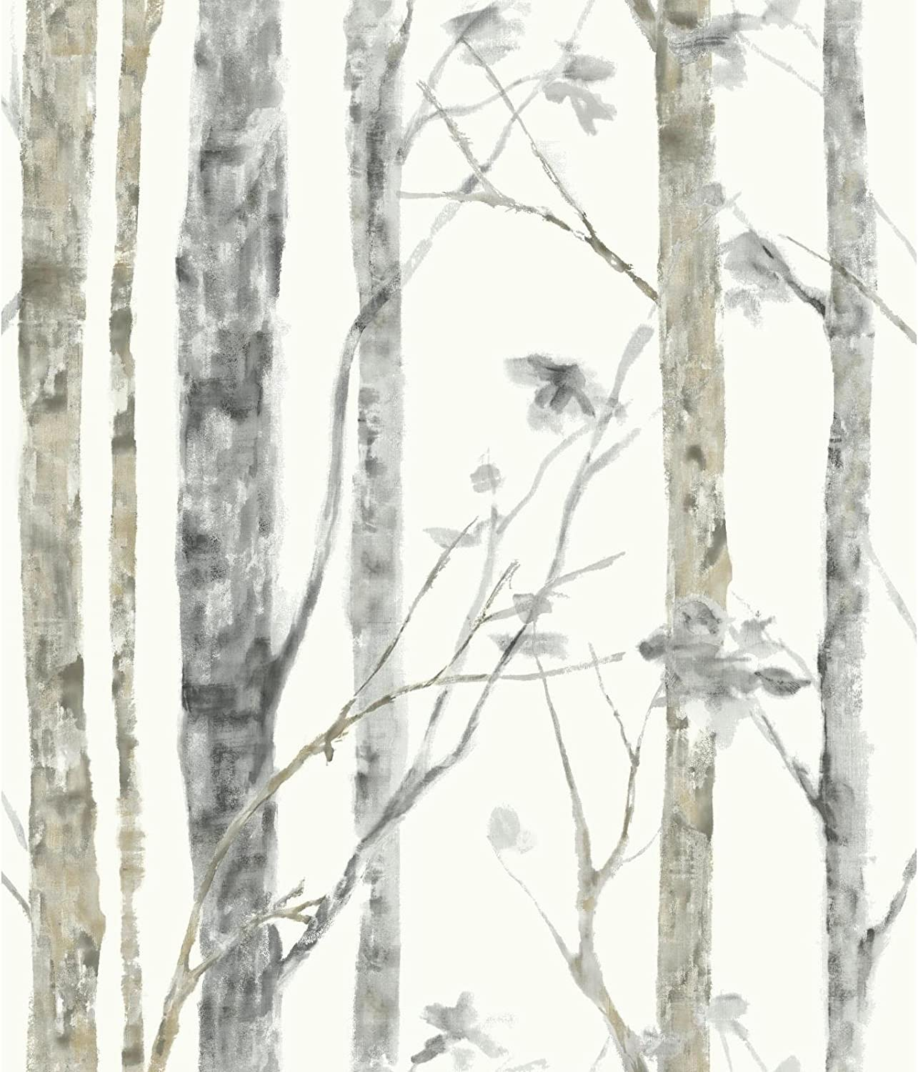 RoomMates Birch Trees Peel and Stick Wallpaper, White/Brown - RMK9047WP