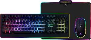 Dragon Gaming Gear Pro PC Gaming Pack, 3 in 1 Professional Gamer Kit, RGB Backlit Gaming Keyboard, Ergonomic Gaming Mouse, Smooth Gaming Mouse Pad