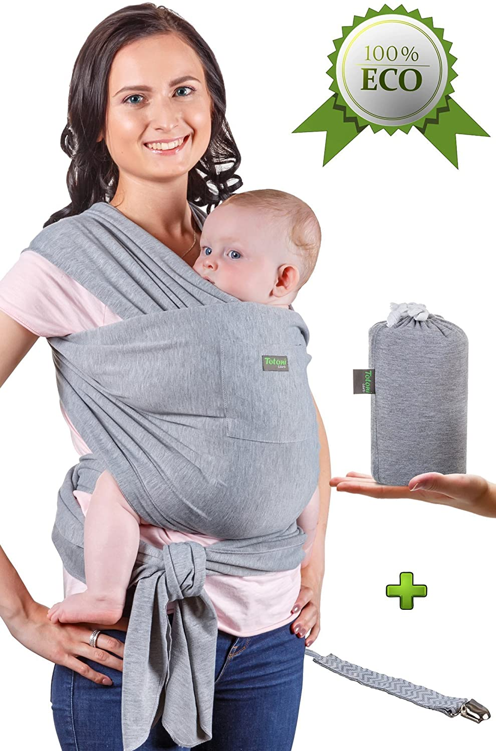 Baby Wrap Carrier - Baby Sling up to 35 lbs - Infant Wrap - Newborn Baby Carrier Sling - Baby Carrier Wrap and Sleepy Wrap for Toddler - Breastfeeding Sling - Perfect Baby Gift Sling - Organic Cotton Totoni care G-1
