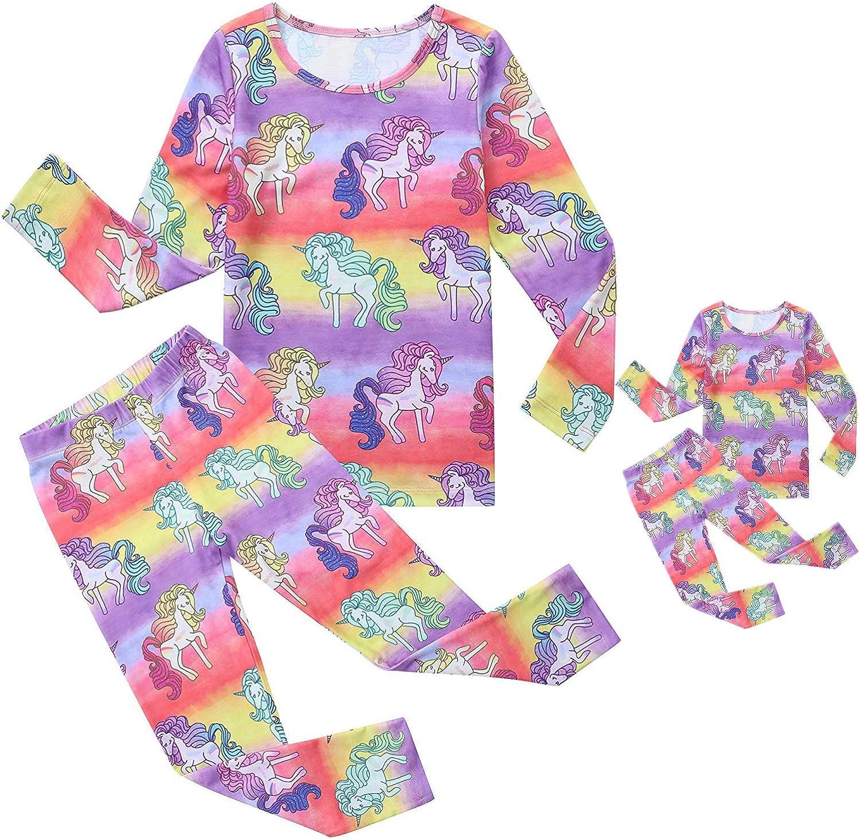 Jxstar Matching Dolls & Girls Pjs Rainbow Unicorn Pyjamas Sets Cotton Sleepwear Pj