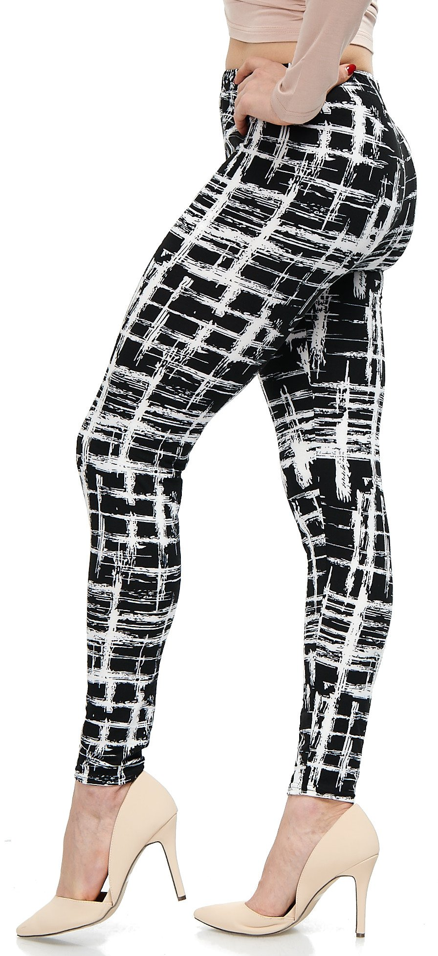 LMB Lush Moda Extra Soft Leggings with Designs- Variety of Prints - 720F Black White Stripes B5