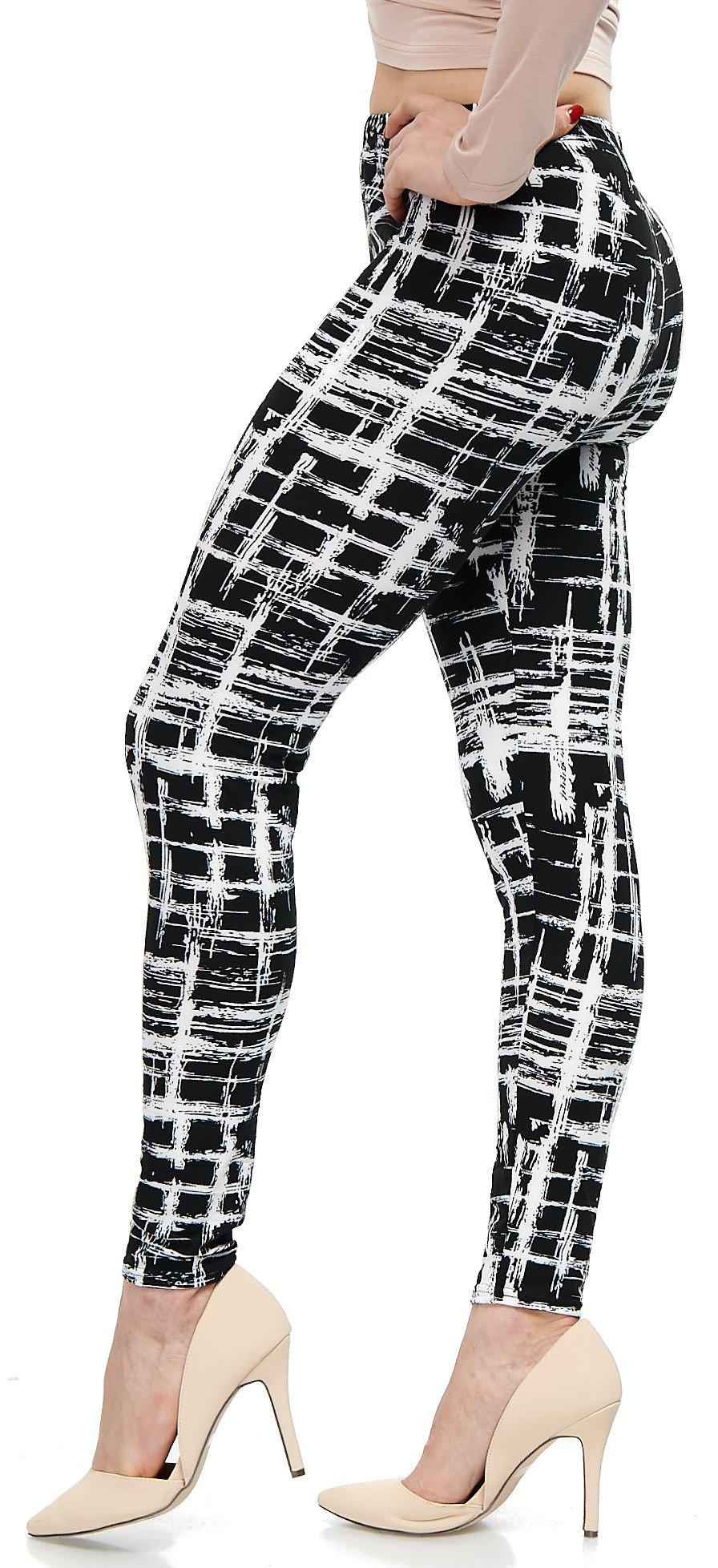 LMB Lush Moda Extra Soft Leggings with Designs- Variety of Prints - 720F Black White Stripes B5 by LMB (Image #1)