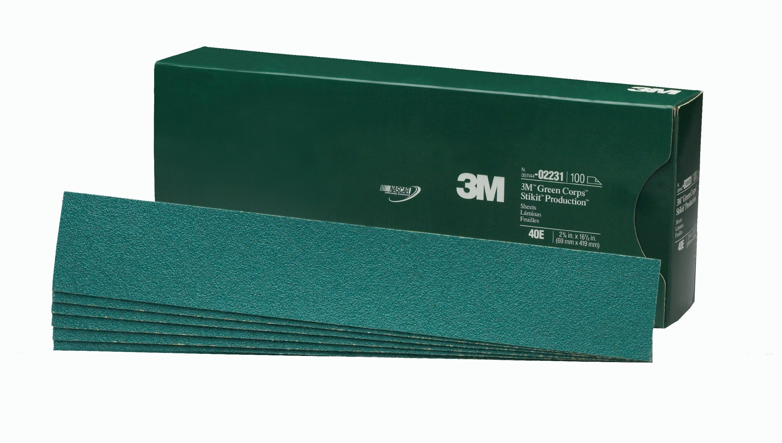 3M 02231 Green Corps Stikit 2-3/4'' x 16-1/2'' 40E Grit Production Sheet