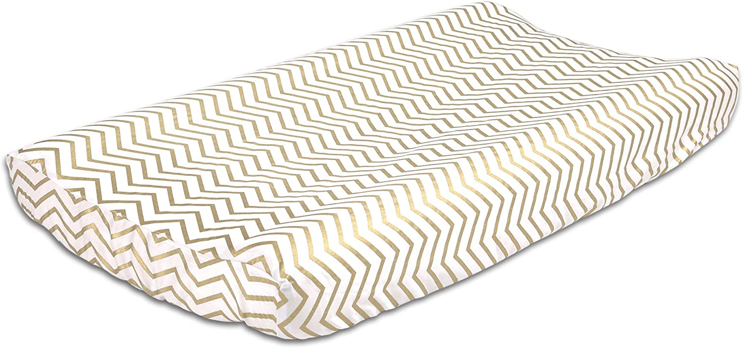 Gold Zig Zag 100% Cotton Changing Pad Cover by The Peanut Shell by The Peanut Shell