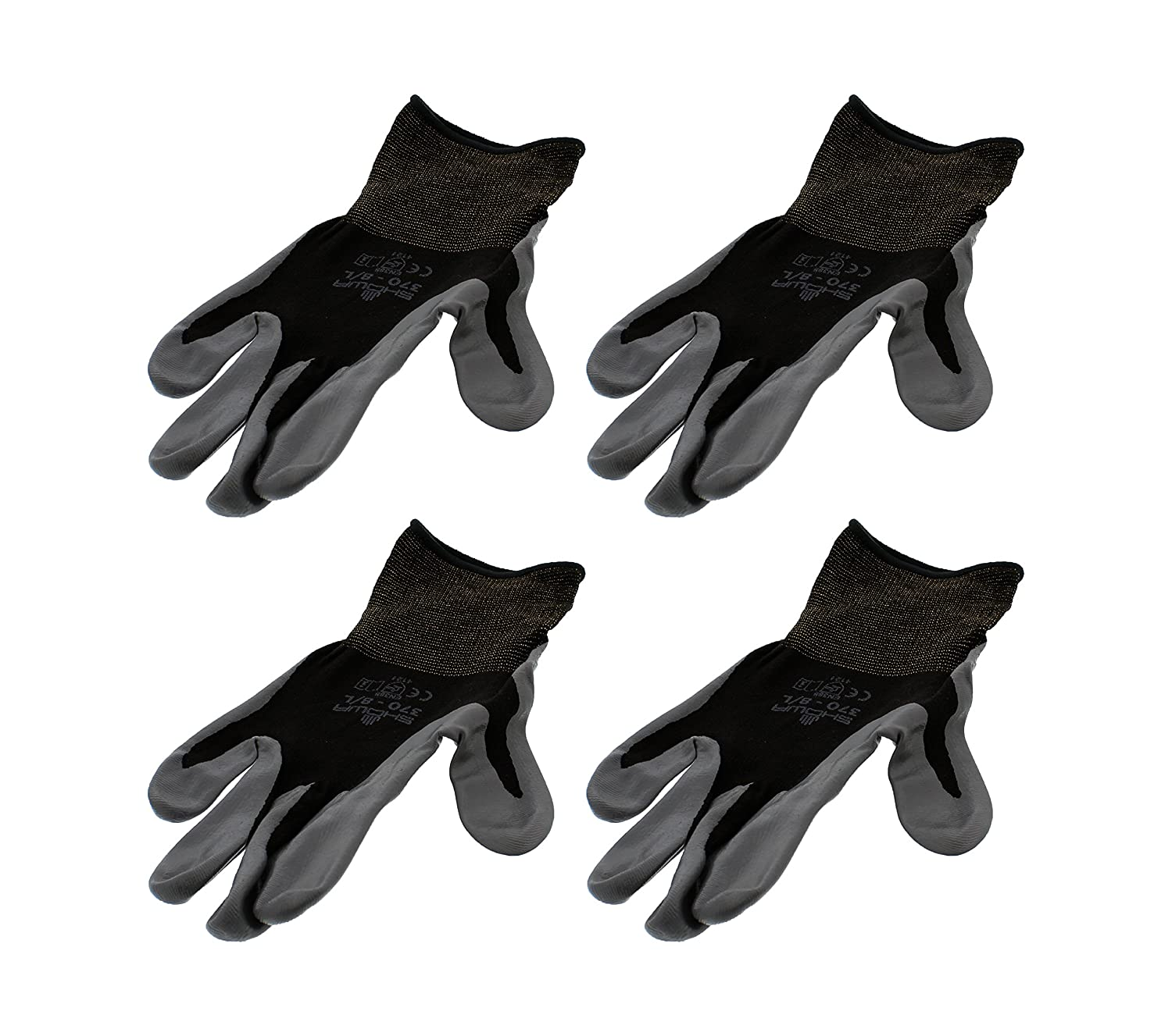 4 Pack Showa Atlas 370BBK Atlas Nitrile Tough Gloves - Large