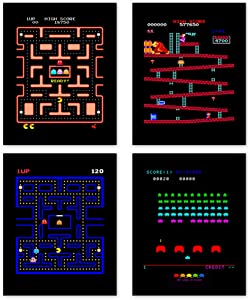 Arcade Classics Poster Prints | Set of Four 8x10 Video Game Wall Decor | Play Screen Art | Gaming Posters