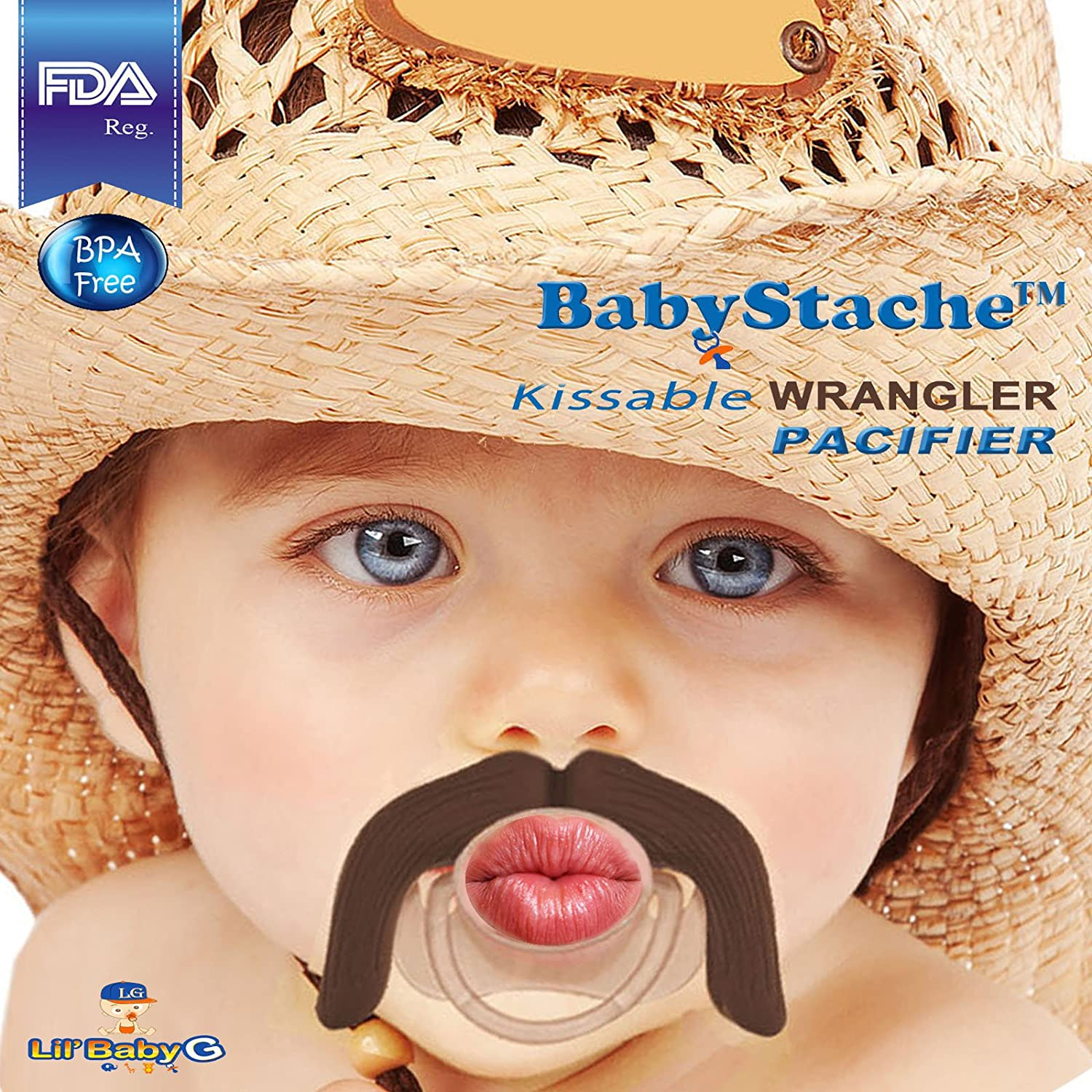 6Pack Baby Funny Pacifier Cute Kissable Lips and Teeth Pacifier for Babies and Toddlers Unisex-BPA Free