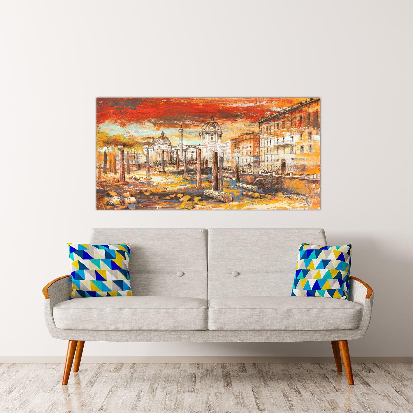 Rahmen Druck auf Leinwand mit Rahmen in in in Holz Luigi Florio Sonnenuntergang auf Rom 160x80 CM B07BNN7624 | Internationale Wahl  3fc7c2