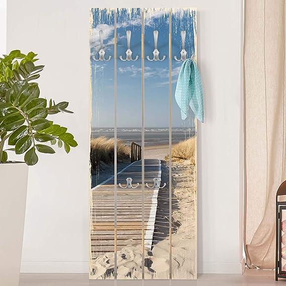 Perchero de Madera Baltic Sea Beach, 100x40 cm incl. Ganchos ...